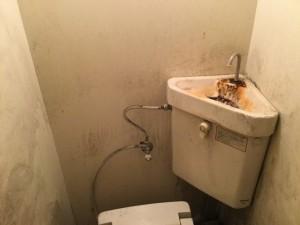 トイレのタンクの水アカ落とし