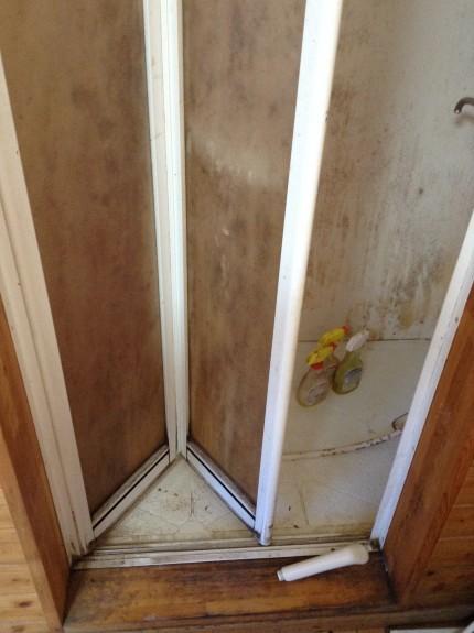 シャワールームのカビ汚れ落とし