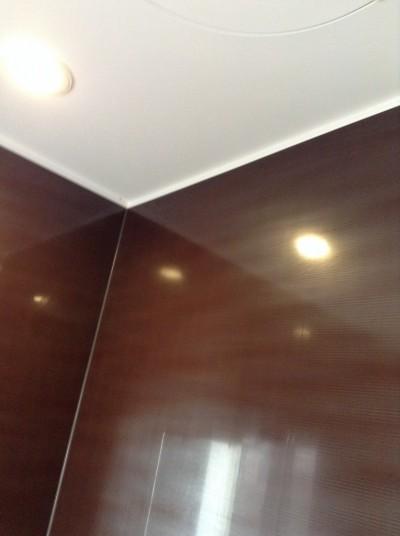 お風呂の茶色い壁面の水アカ落とし