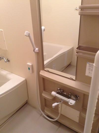 浴室クリーニング 蛇口、鏡、棚 水アカ除去