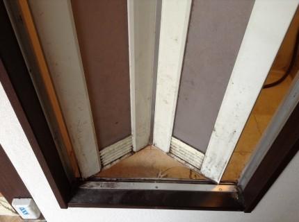 浴室のドアに繁殖した黒カビ