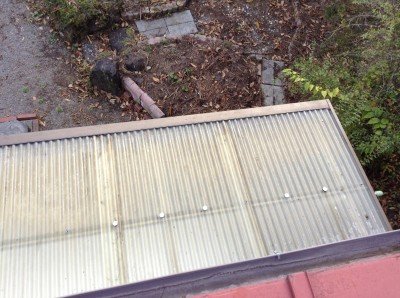 タキロンの上に積もった枯れ葉回収