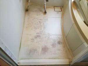 お風呂の床の固着カビ汚れ落とし